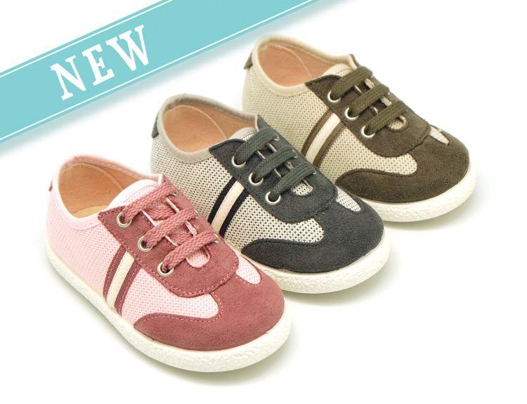 56b6dc3c Okaaspain, tienda online de zapatillas de lona combinada con cordones para  niños y niñas para otoño.