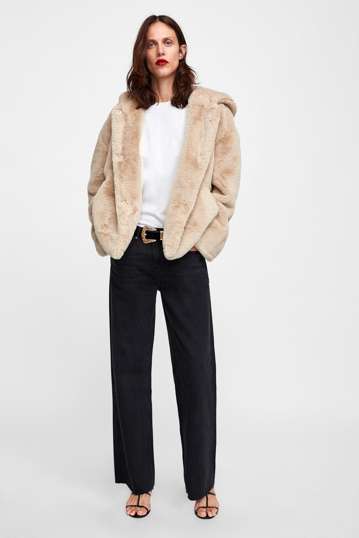 e518ab7fed Hooded faux fur jacket | zara | Faux fur jacket, Fur jacket, Fur