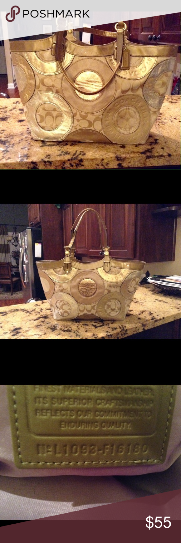 Coach purse Cute Coach bag with metallic gold colors. It is in EUC with only 2 minor marks inside the zipper compartment. Coach Bags Shoulder Bags