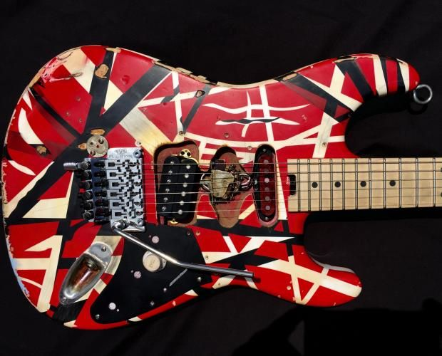 EVH Striped Series red, white, black aged distressed ...