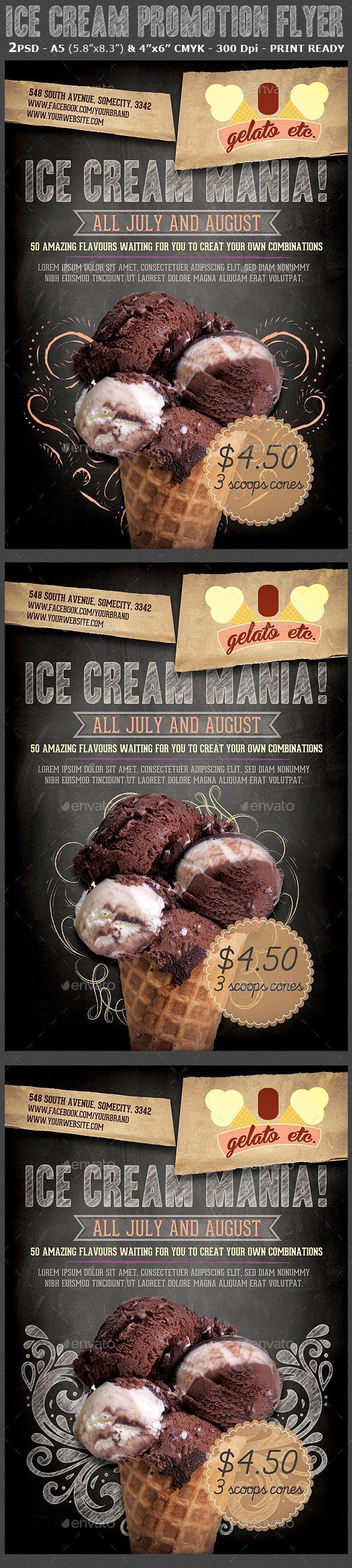 Ice Cream Shop Promotion Flyer Template | Heladerías, Folletos y ...