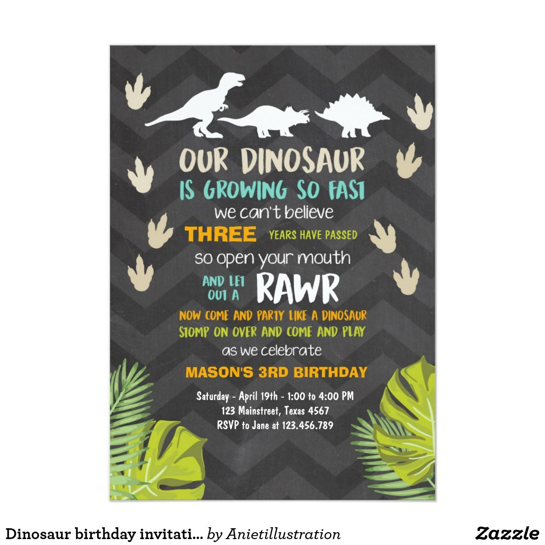 Dinosaur birthday invitation Dinosaur Party Chalk | Dinosaur ...