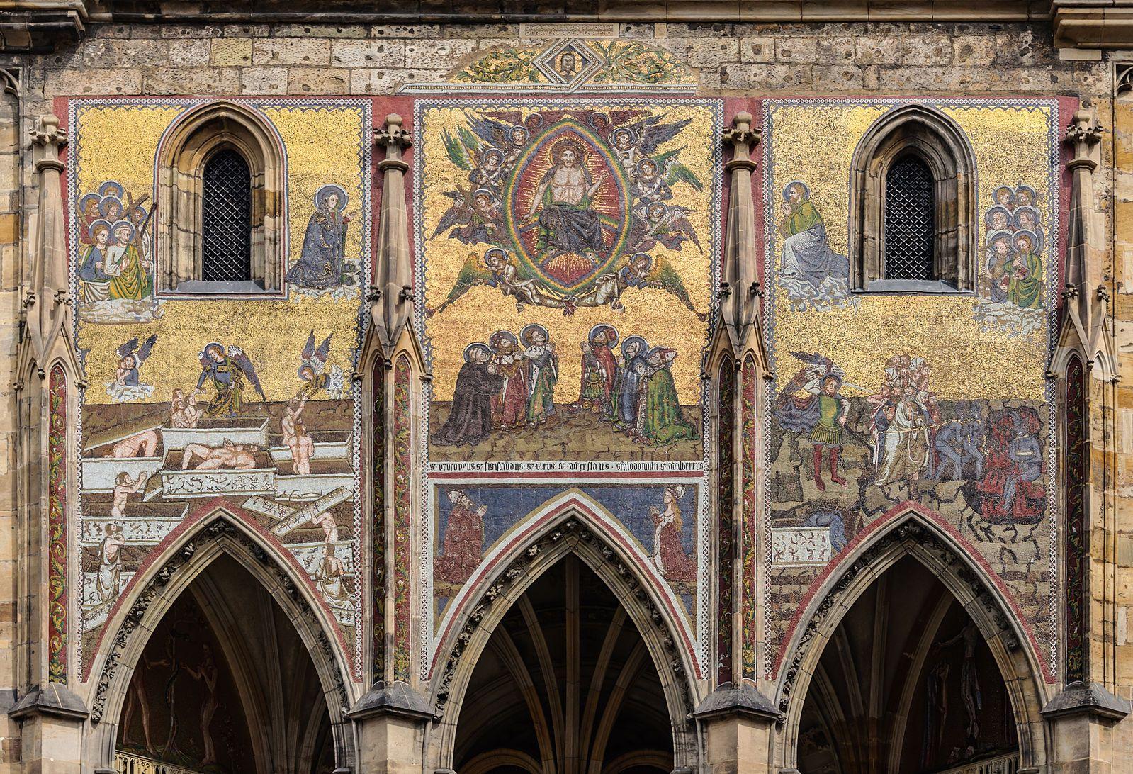 The Last Judgment mosaic, 14th-century, south facade of Saint Vitus Cathedral, Prague, Czech Republic.