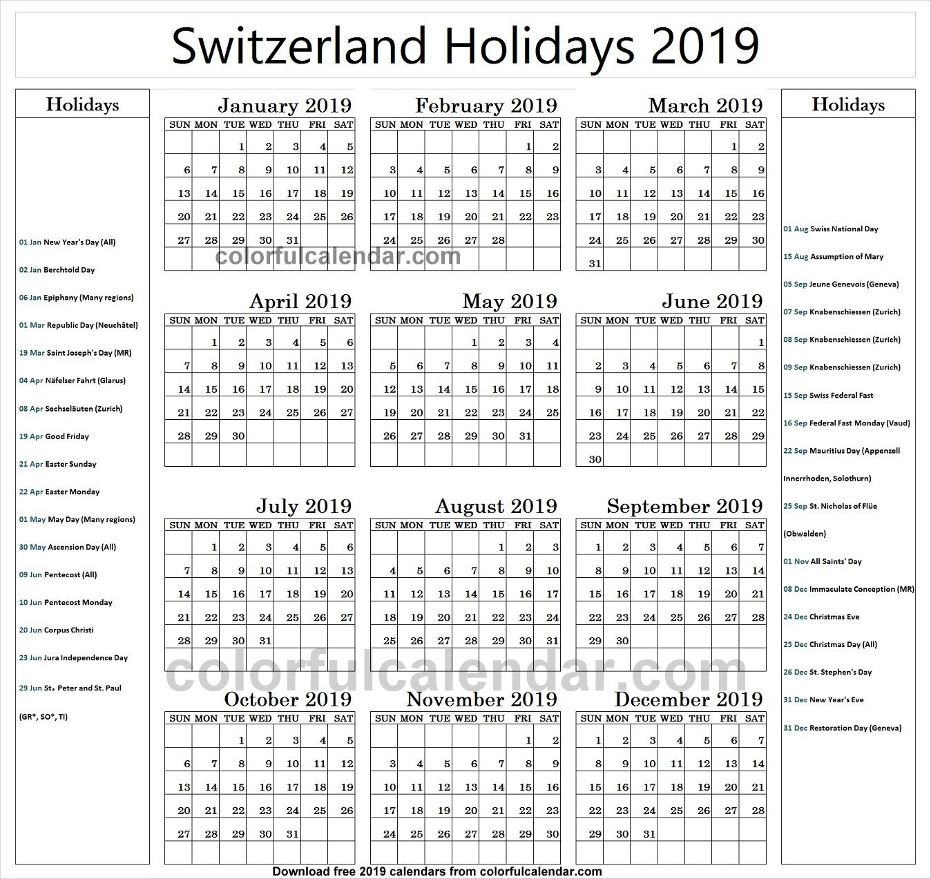 2019 School Holidays Switzerland Calendar School Holidays