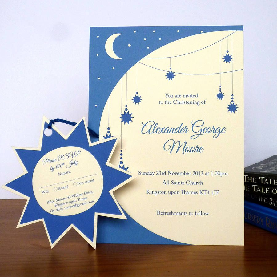 Twinkle Star Christening Invitation With RSVP Tag | Christening ...