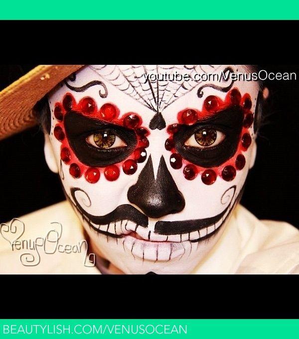 Men S Dia De Los Muertos Day Of The Dead Face Painting Tutorial Face Painting Halloween Sugar Skull Makeup Face Painting Tutorials