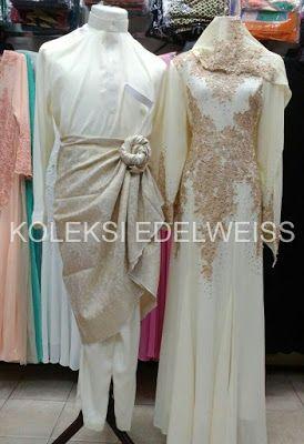 Set Baju Pengantin Warna Krim Gold Gaun Pengantin Muslimah