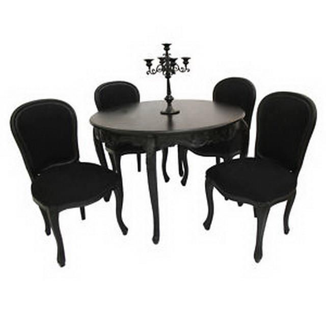 Cherise 48 Round Dining Table 4 Chairs Black Rococo