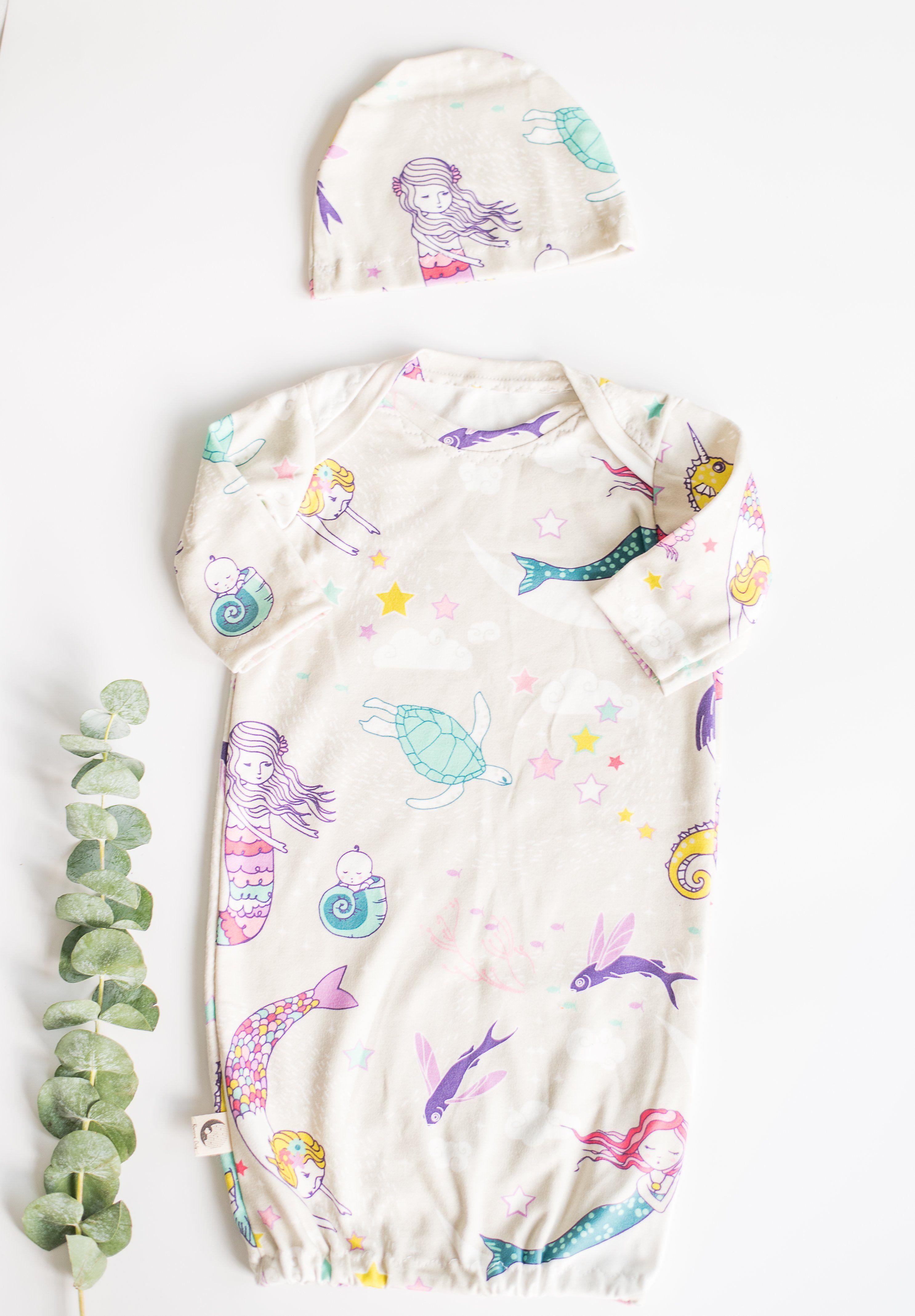 NEWBORN SLEEPER GOWN WITH MATCHING HAT - MERMAID   Baby idea\'s ...