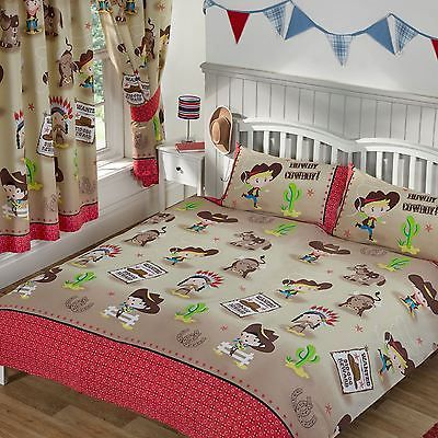 Howdy #cowboy #double duvet cover set new red #indians wild west,  View more on the LINK: 	http://www.zeppy.io/product/gb/2/131288026693/