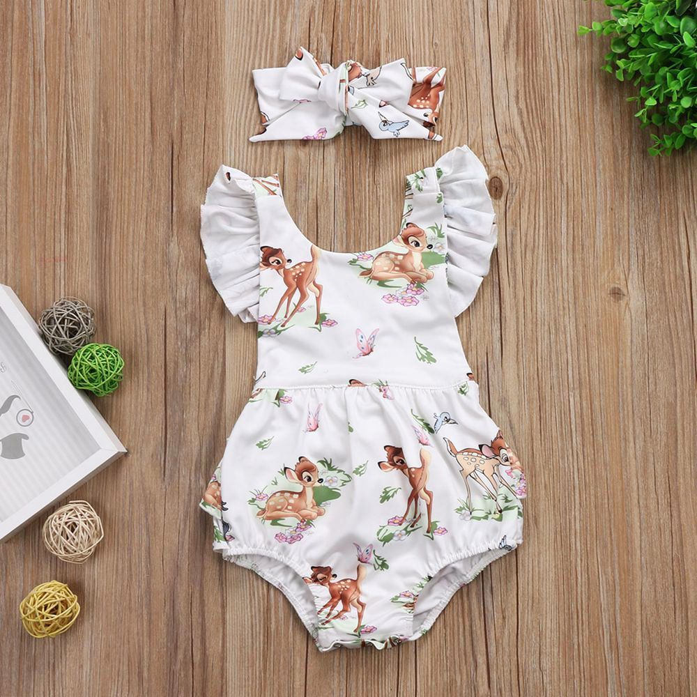 7544e35d0ad8 6.89AUD - Toddler Infant Baby Girls Cotton Deer Romper Bodysuit Jumpsuit  Clothes Outfits  ebay  Home   Garden