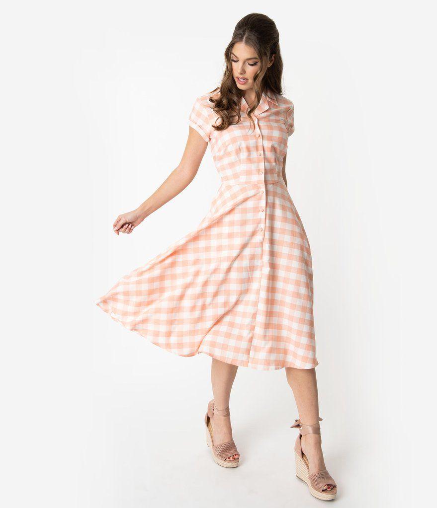 ffdd4827edbf Unique Vintage 1950s Style Peach & White Gingham Alexis Swing Dress