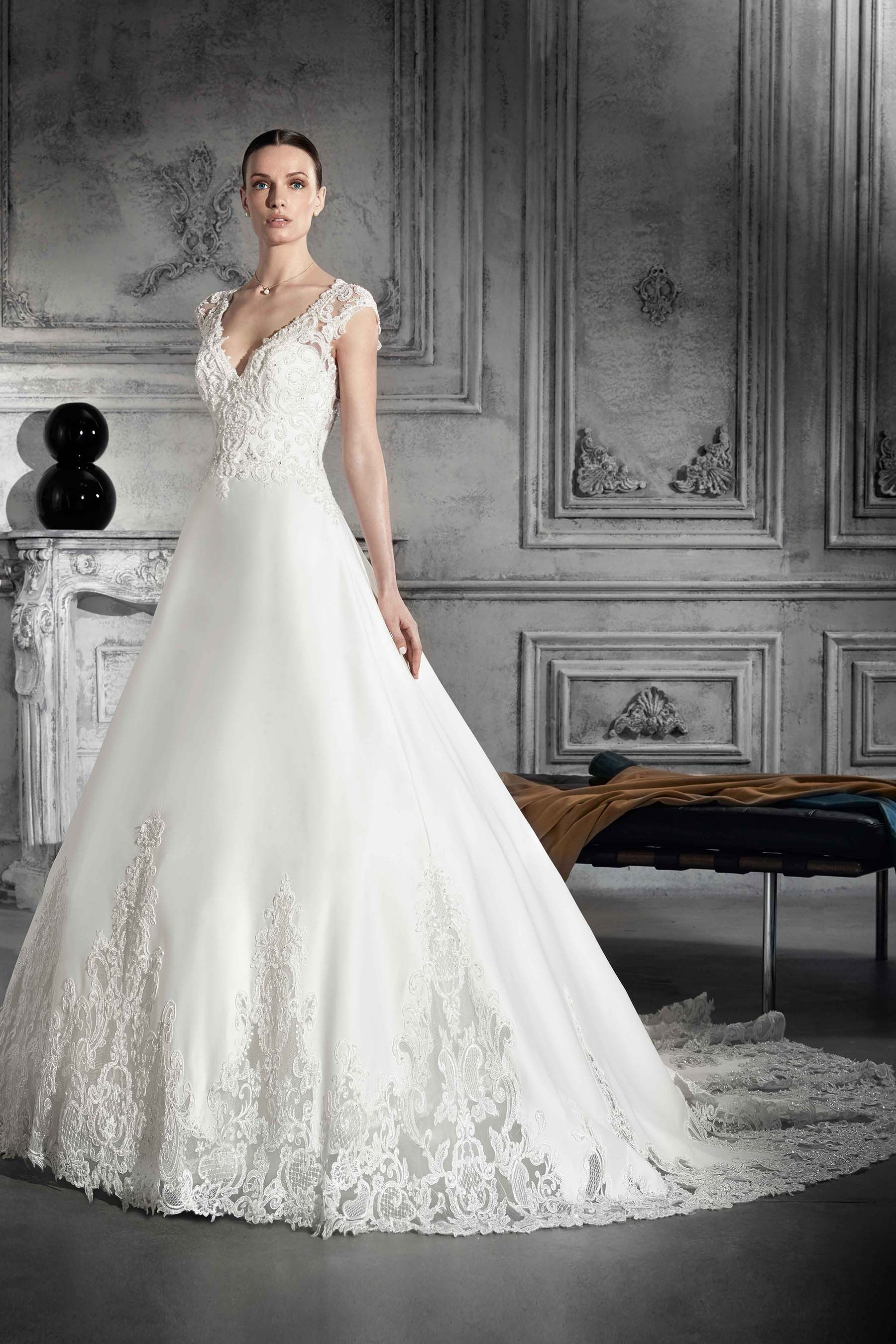 Demetrios 2018 Style 812 Beaded lace and Satin gown with illusion ...