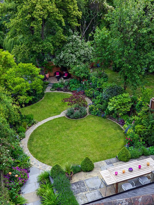 Circular Lawn With Paved Path To Access The Far End Of The Garden And Take  Youu2026