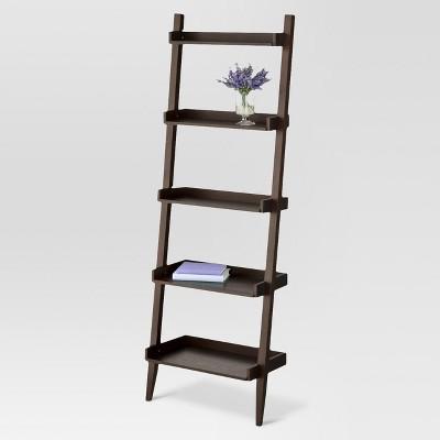 72 Manhattan Leaning Bookcase Espresso Threshold Brown