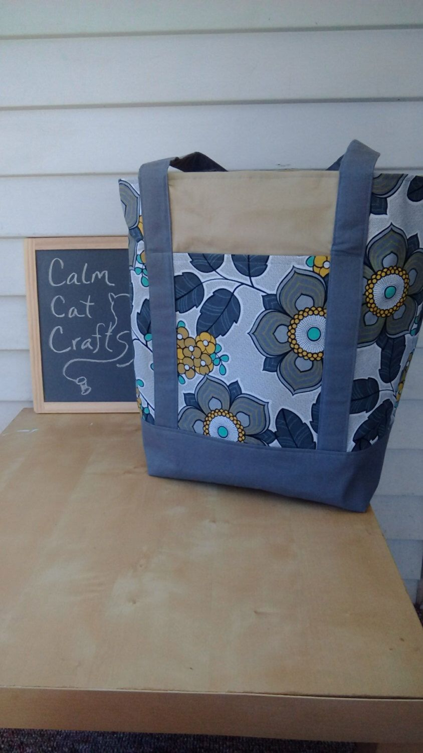 A personal favorite from my Etsy shop https://www.etsy.com/listing/277134282/large-tote-bag-floral-tote-grey-tote