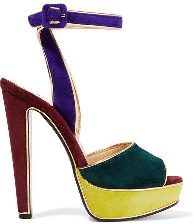 Christian Louboutin - Louloudance Color-block Suede Sandals - Royal blue