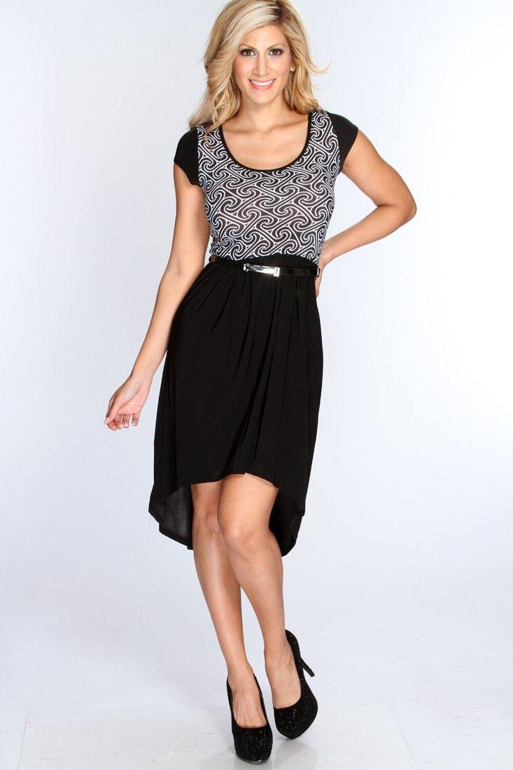 Black White Pattern Design High Low Hem Dress
