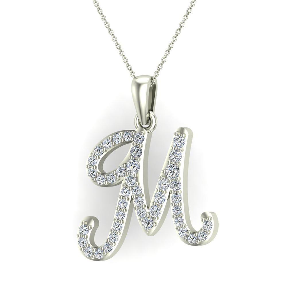 1dc23decced M Letter Initial Monogram Diamond Charm Necklace 0.65 Carat Total 18K Gold  (G