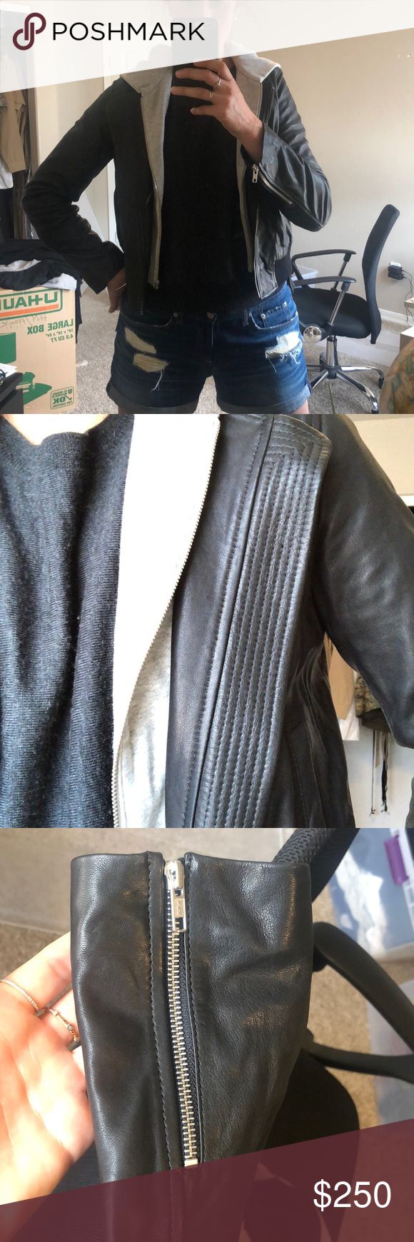 Never Worn ALC Leather Jacket With Hoodie Size 10 Super