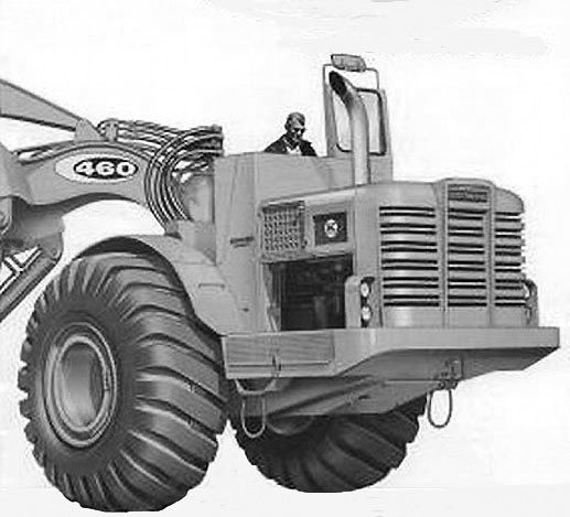 1962 factory picture of the initial production TS460. As you can see it is a big brute of a machine and Allis-Chalmers had great hopes for it. This unit is fitted with a Farr aircleaner and the characteristic Allis-Chalmers curved exhaust pipe.