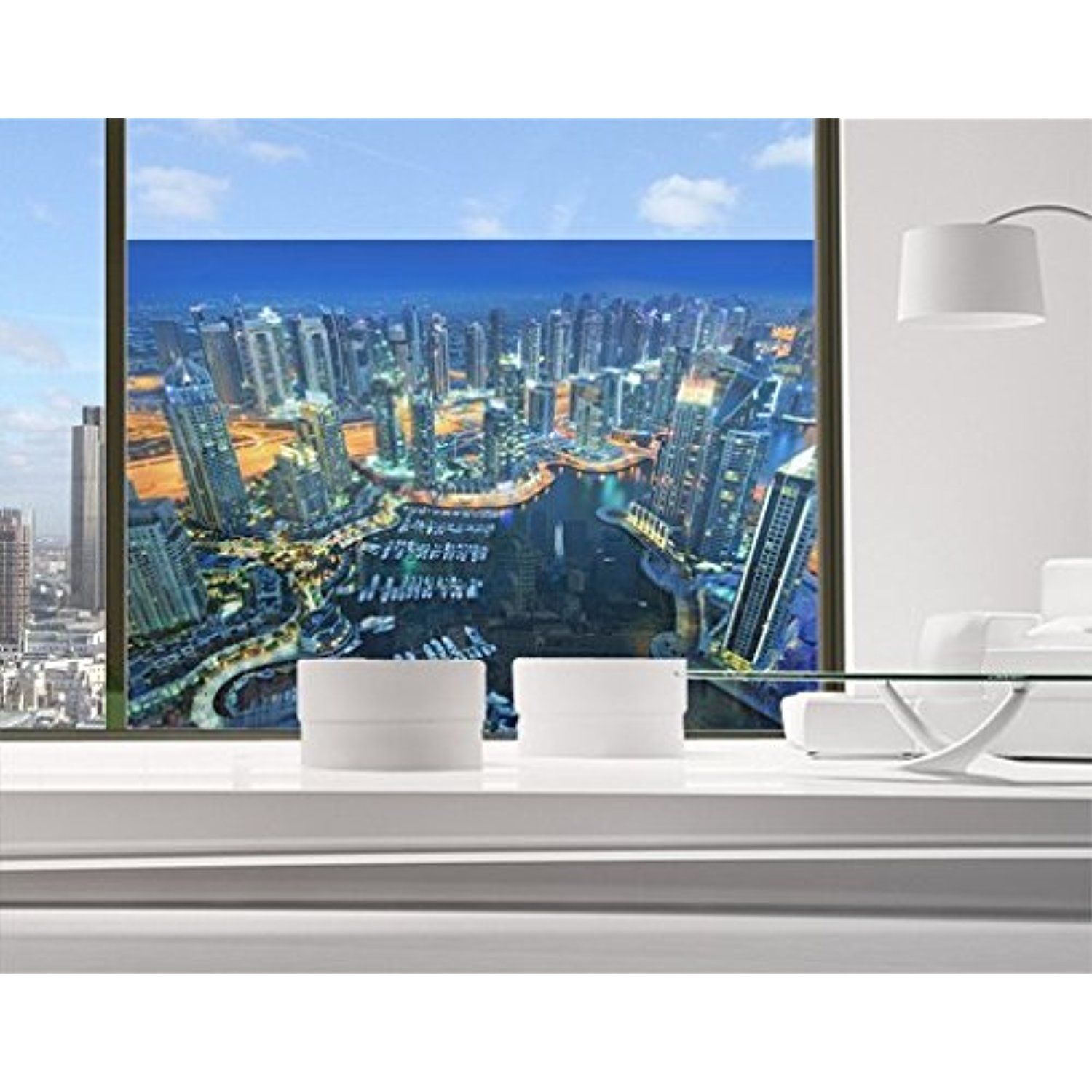 Déco Murale Diy Window Mural Nocturnal Dubai Marina Window Sticker Window Film