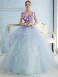 d32f56319fc Vestido para quinceañeras Azul menta con cuello en V sin mangas con perlas