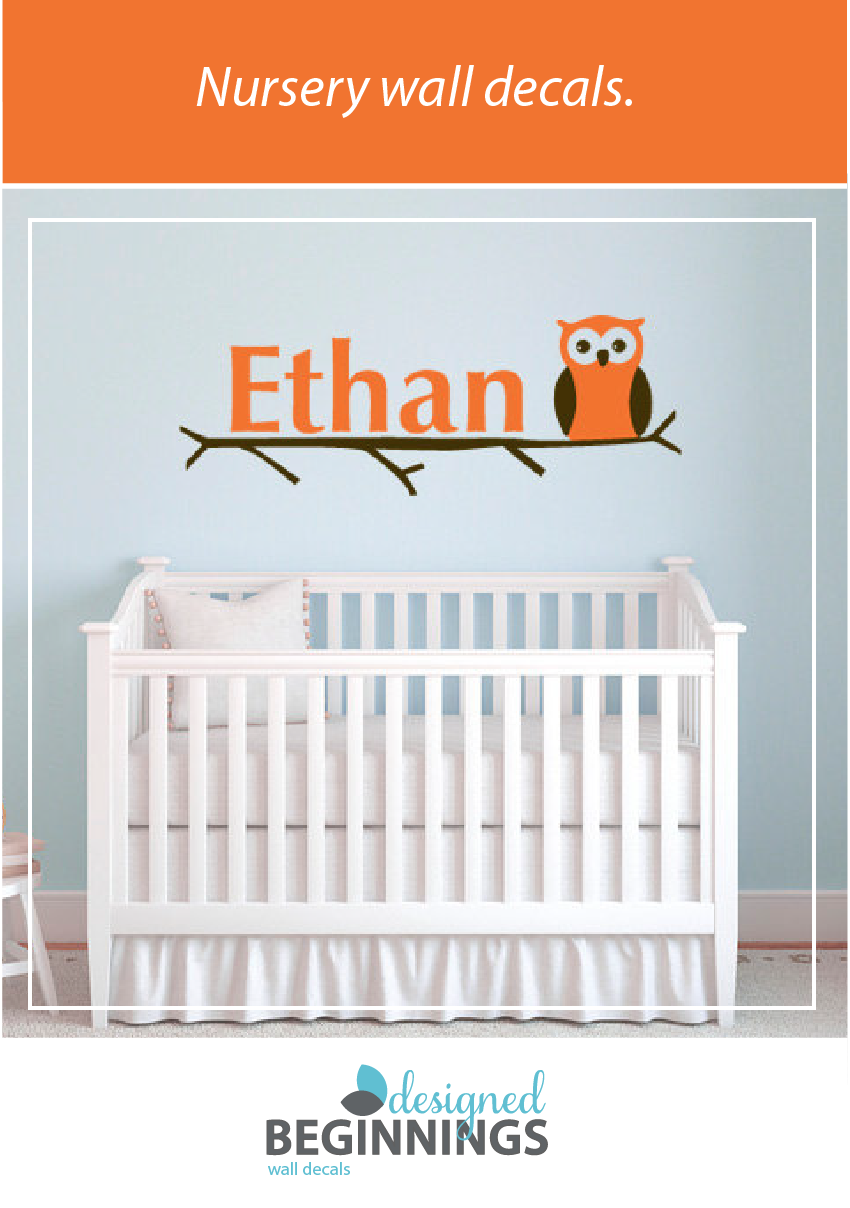 Owl wall decals personalized wall decal name decals monogram