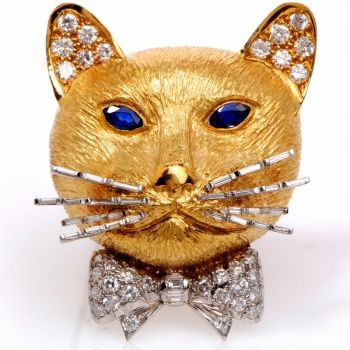 Vintage English 3.45CTS Diamond Sapphire 18K Gold Cat Pin