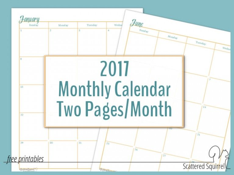 FullSize Monthly Calendar Printables Are Here
