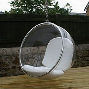 Amazon Com Eero Aarnio Bubble Chair With White Seat Cushion Home