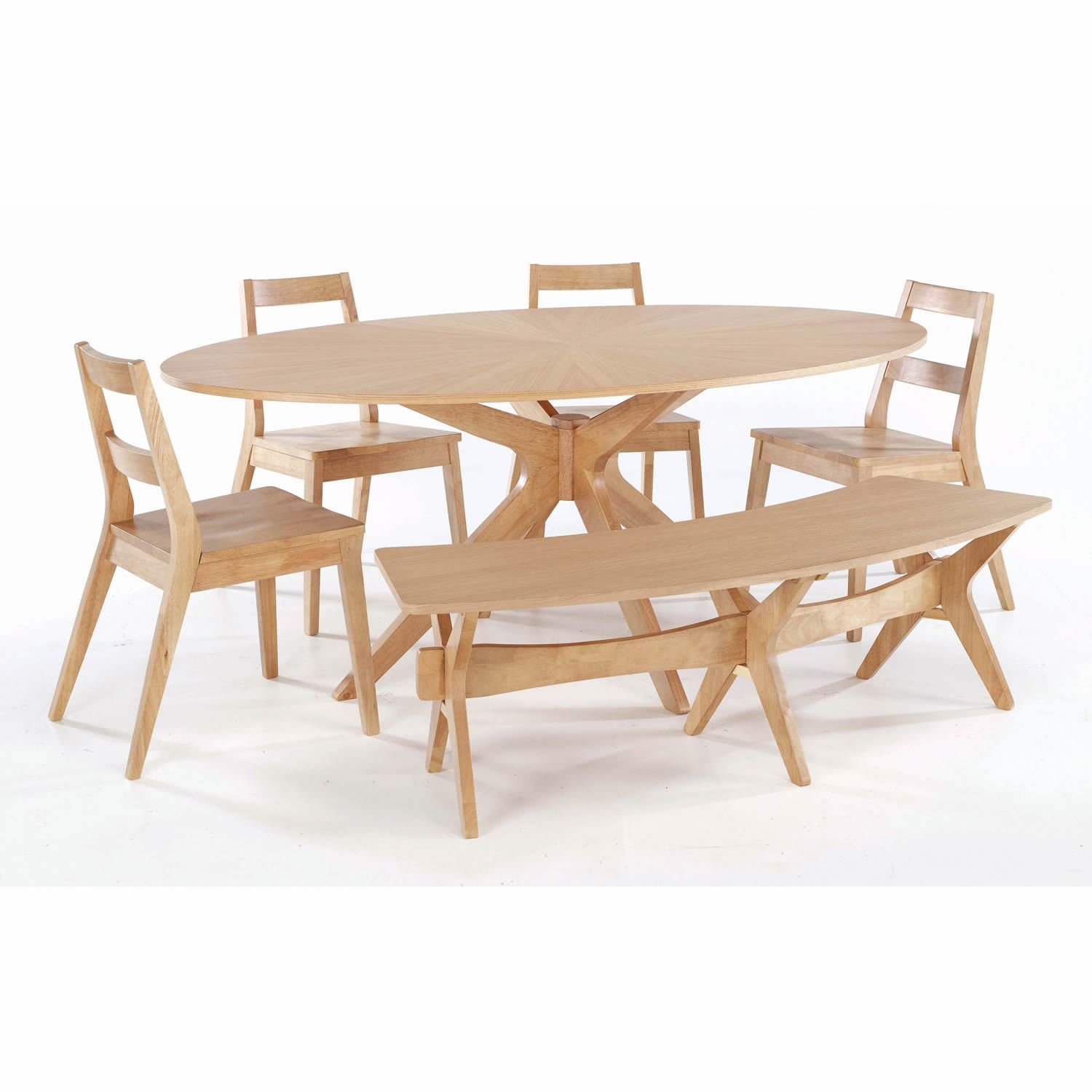 Spectacular Simplistic Oval Dining Table With Chairs And Bench Oak - Oval dining table for 4