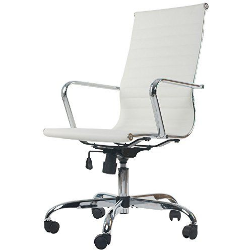 Merax Ribbed High Back Swivel Task Chair White PU Leather…