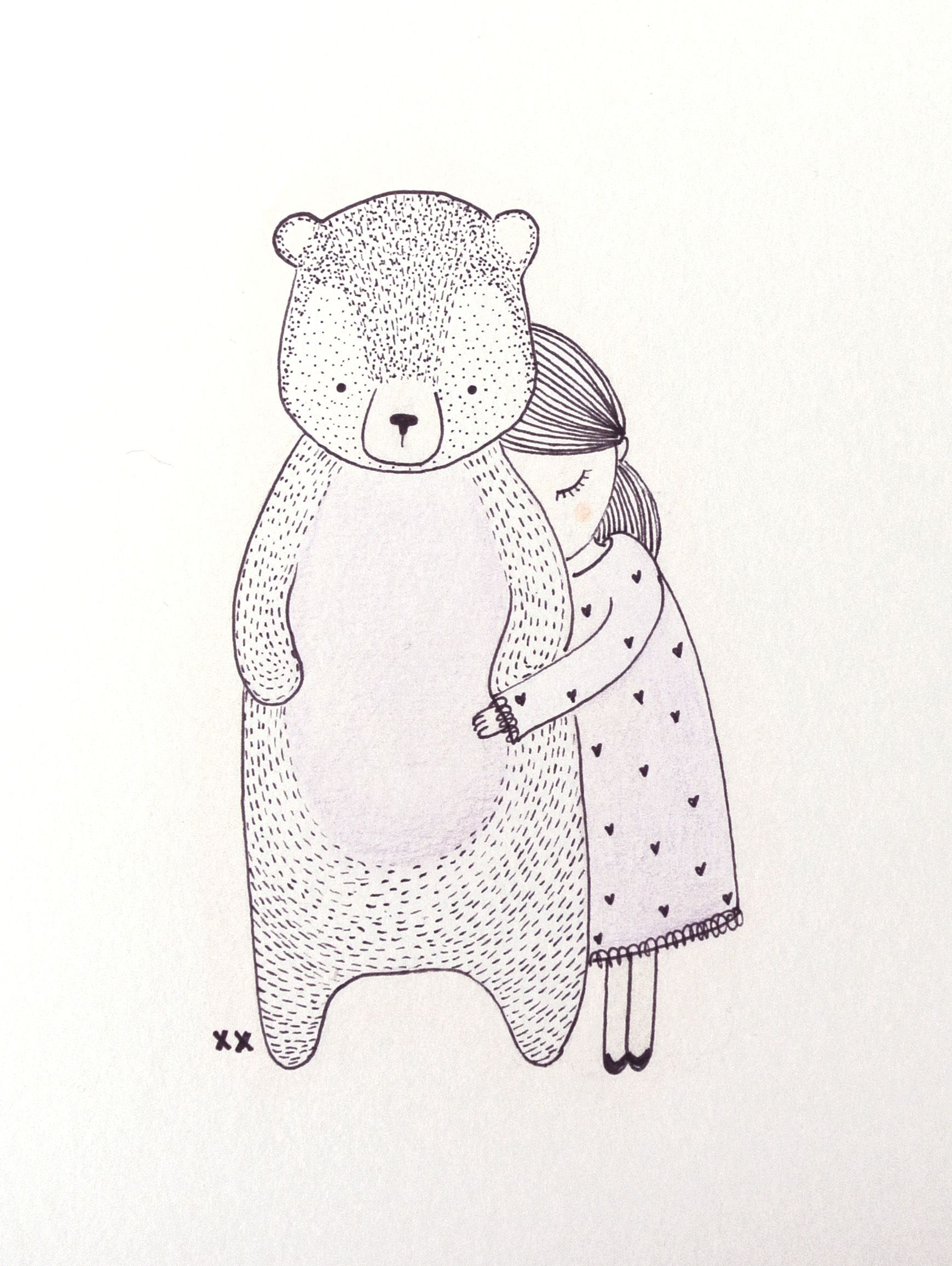 illustratie beer | illustration bear | www ...Little Girl With Teddy Bear Black And White