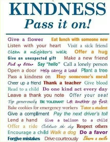 Kindness- pass it on.