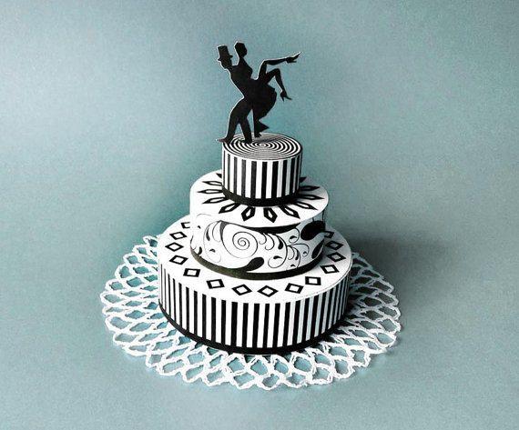 Wedding cake black white DIY printable favor box, geometrical floral