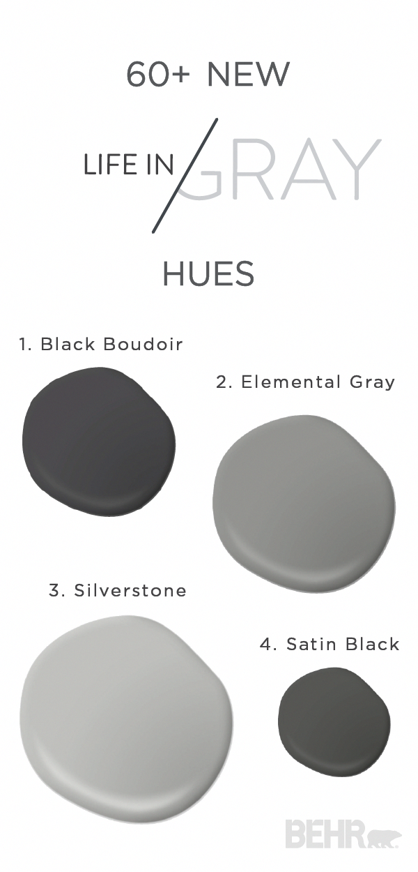 Gray is the perfect neutral—Whether you pair it with different pops of color or use it to create a simple monochromatic living space, this paint combination of Black Boudoir, Elemental Gray, Silverstone, and Satin Black is sure to give your home a subtle, yet sophisticated aesthetic. Check out the new Life in Gray colors for even more makeover inspiration. #GreybedroomWithPopOfColor #graybedroomwithpopofcolor