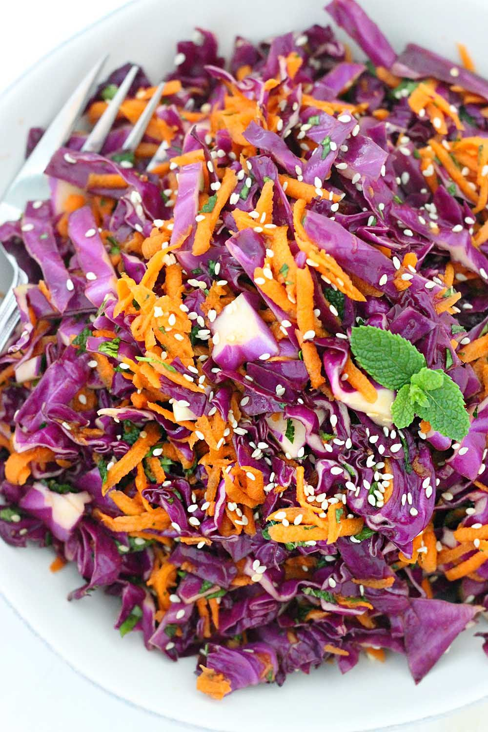 Thai Sesame Red Cabbage And Carrot Salad Recipe Carrot Salad Red Cabbage Recipes Red Cabbage Salad