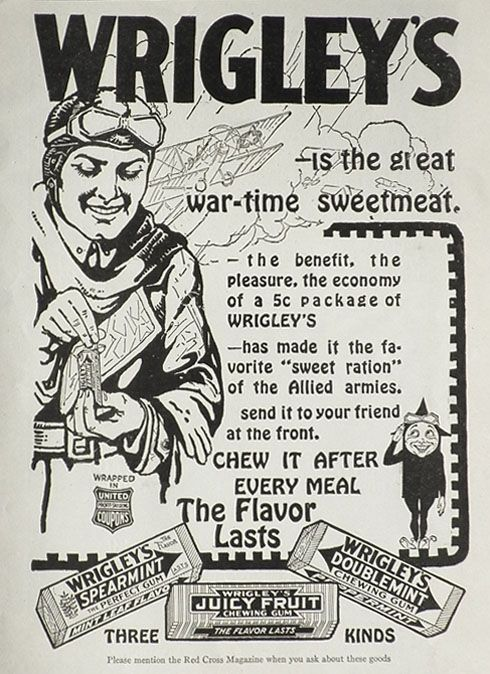 1918 WWI Wrigley's Gum Ad ~ Wartime Sweetmeat, Vintage Candy & Gum Ads |  Old advertisements, Vintage ads, Vintage advertisements