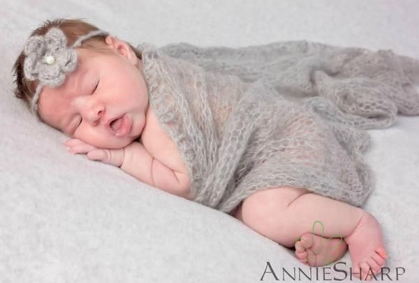 SET Light Gray Mohair Knit Baby Wrap and Headband