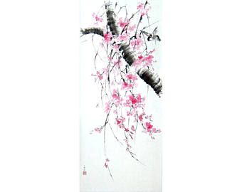 Japanese Ink Painting on Rice Paper Japanese art Asian art Suibokuga Sumi-e Large art 43x18 inches Cherry blossom bird