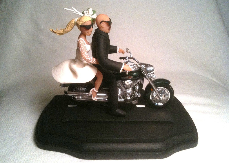 Wedding Cake Topper Bald Groom Motorcycle 19500 Caketopcreations