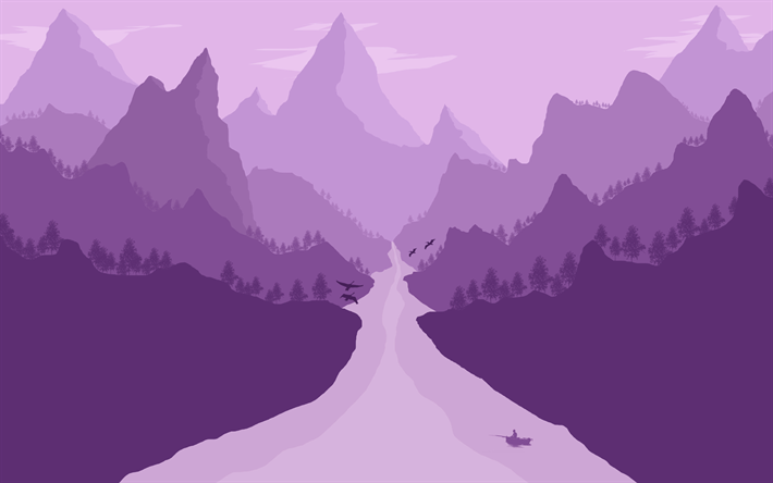 Download Wallpapers 4k Mountains River Forest Purple Landscape Minimal Besthqwallpapers Com Mountain Drawing Landscape Mountain Wallpaper