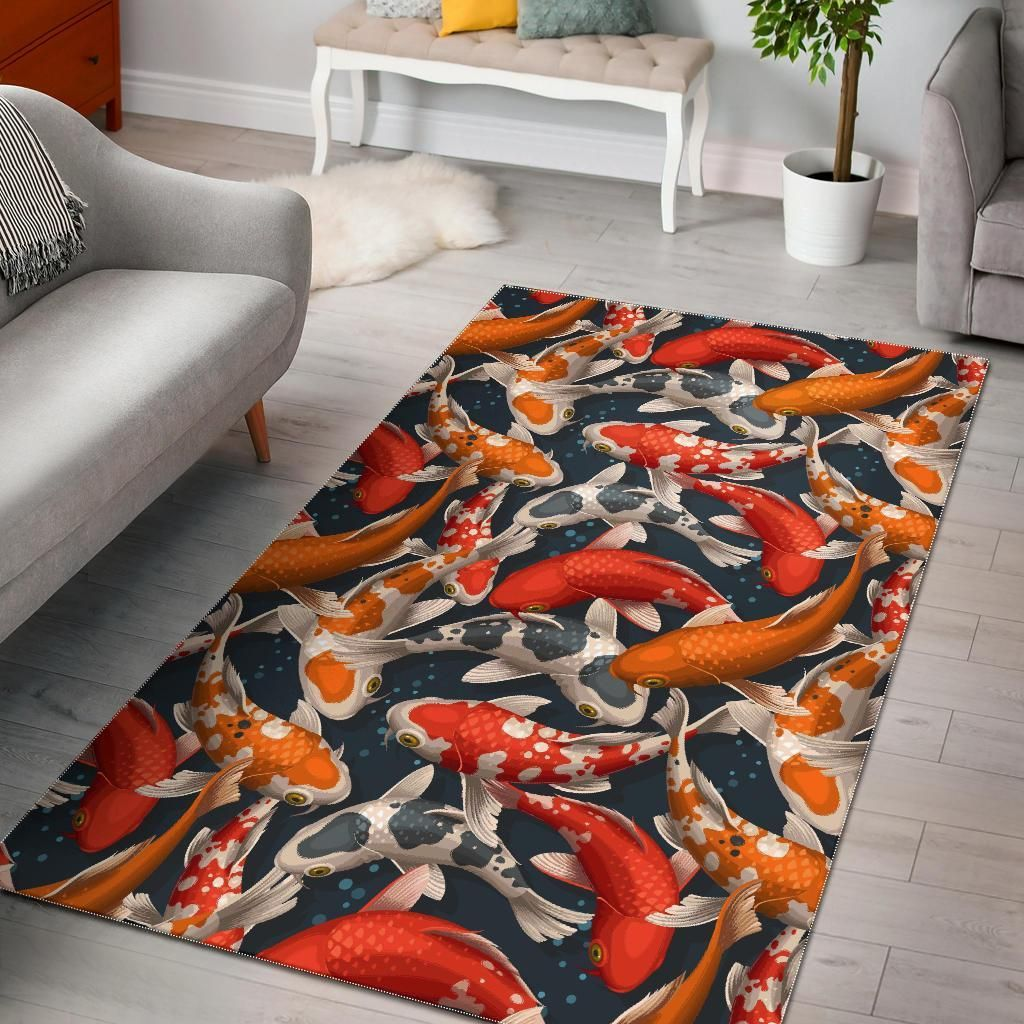 Koi Fish Pattern Print Area Rug In 2021 Rugs Fish Patterns Area Rugs