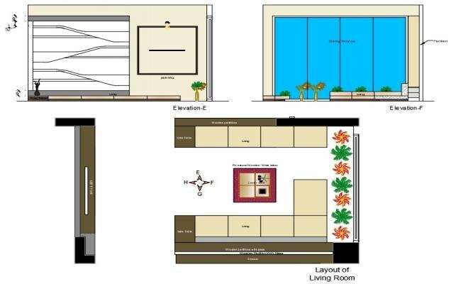 Living Room Layout Plan With Elevation CAD Drawing DWG File