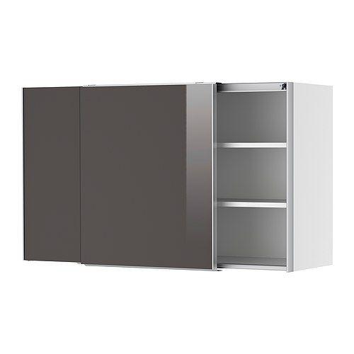 Faktum Wall Cabinet With Sliding Doors Abstrakt Grey