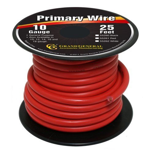Grand General 55261 Red 10 Gauge Primary Wire Grand General Https Www Amazon Com Dp B00invf40e Ref Cm Sw R Pi Dp X Zapbyb8npp1xw 10 Things Car Tires Gauges