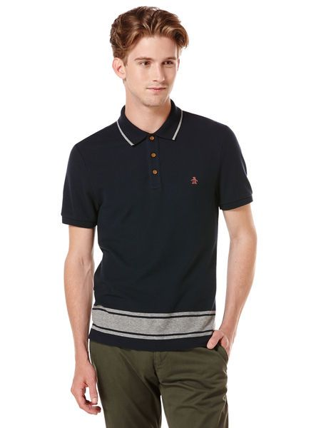 What I'm Wearing Today: SHORT SLEEVE ENGINEERED STRIPED HEM POLO in Dark Sapphire