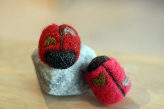 Needle felted Love Bugs by twolittledragons on Etsy, $8.00