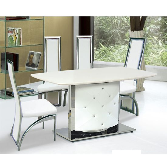 ambrose cream marble dining table with 4 cream dining chairs - Cream Kitchen Tables